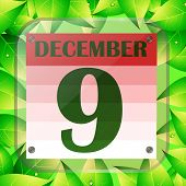 December 9 Icon. Calendar Date For Planning Important Day With Green Leaves. December Ninth. Banner  poster