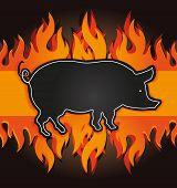 stock photo of pig  - blackboard grill menu card pig fire board raster - JPG
