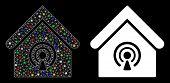 Glossy Mesh Radio Station Icon With Glare Effect. Abstract Illuminated Model Of Radio Station. Shiny poster