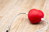Red Heart And Medical Stethoscope. Close Up. Placed On The Table With Space To Put Text. Heart Healt poster