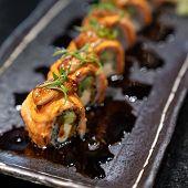 Salmon Foie gras roll, Fusion Japanese Cuisine food. poster