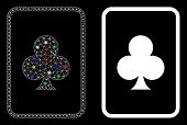 Glowing Mesh Clubs Gambling Card Icon With Lightspot Effect. Abstract Illuminated Model Of Clubs Gam poster