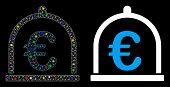 Glowing Mesh Euro Storage Icon With Glare Effect. Abstract Illuminated Model Of Euro Storage. Shiny  poster