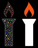 Flare Mesh Fire Torch Icon With Glare Effect. Abstract Illuminated Model Of Fire Torch. Shiny Wire F poster