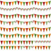 image of mexican  - horizontally seamless mexican party bunting pack isolated on white - JPG