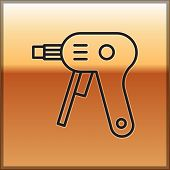 Black Line Electric Hot Glue Gun Icon Isolated On Gold Background. Hot Pistol Glue. Hot Repair Work  poster