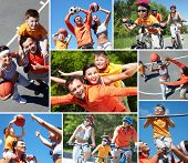 stock photo of piggyback ride  - Collage of happy family at leisure in summer - JPG