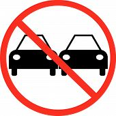 Cars Passing With Not Allowed Symbol.