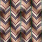 Jersey Downward Arrow Lines Knitted Texture Geometric Seamless Pattern. Rug Knitwear Structure Imita poster