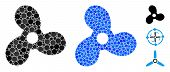 Boat Propeller Mosaic Of Small Circles In Different Sizes And Color Tints, Based On Boat Propeller I poster