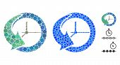History Mosaic Of Small Circles In Different Sizes And Color Tinges, Based On History Icon. Vector R poster