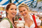 Young women in traditional Bavarian clothes - dirndl or tracht - on a festival or Oktoberfest in a b