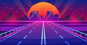 Night City Road. Futuristic Highway With Neon Lights And Buildings, City Of Future Urban Landscape.  poster