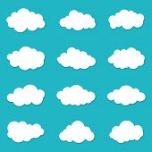 Cartoon Cloud Of Sky On Blue Background. Graphic Heaven In Flat Style. Set Of Overcast Cloudy. Set I poster