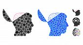 Open Mind Composition Of Round Dots In Different Sizes And Color Tones, Based On Open Mind Icon. Vec poster