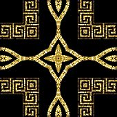 Gold Glitter Ornamental Vector Seamless Pattern. Greek Style Patterned Background. Repeat Geometric  poster