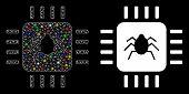 Flare Mesh Hardware Bug Icon With Lightspot Effect. Abstract Illuminated Model Of Hardware Bug. Shin poster