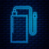 Glowing Neon Line Power Bank With Different Charge Cable Icon Isolated On Brick Wall Background. Por poster