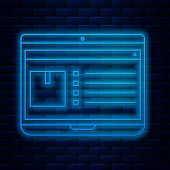Glowing Neon Line Laptop With App Delivery Tracking Icon Isolated On Brick Wall Background. Parcel T poster
