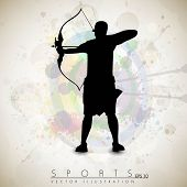 stock photo of longbow  - Silhouette of a archer aiming target on grungy archer sport background - JPG