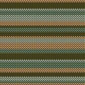 Woolen Horizontal Stripes Christmas Knit Geometric Vector Seamless. Jumper Knitwear Fabric Print. No poster