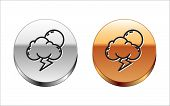 Black Line Storm Icon Isolated On White Background. Cloud With Lightning And Sun Sign. Weather Icon  poster