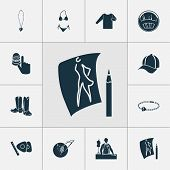 Style Icons Set With Knitwear, Thimble, Fashion Sketch And Other Needlework Elements. Isolated Illus poster