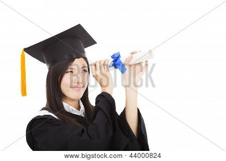 Beautiful Smiling Graduate Woman Looking With Degree