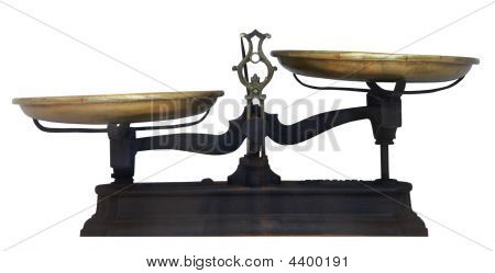 Isolated Antique Metal Table Scales