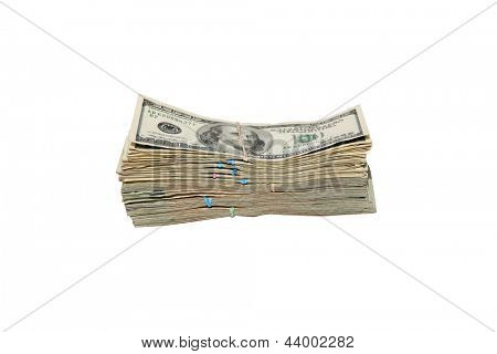 FAT STACKS of Money isolated on white. $10,000 dollars in Cash. Ready for you to pick up and put in your pocket.