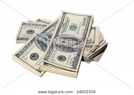 FAT STACKS of Money isolated on white. $100,000 dollars in Cash. Ready for you to pick up and put in your pocket.