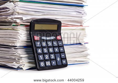 Pile of papers isolated on white