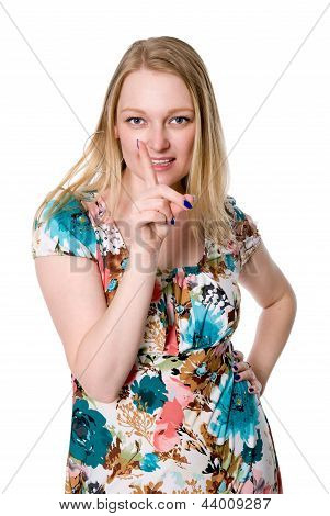 Beautiful Girl Dissatisfied Threatening Finger