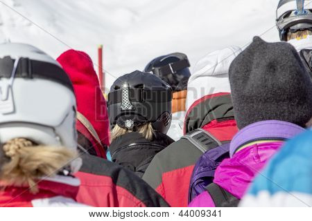 Skier Standing In Line