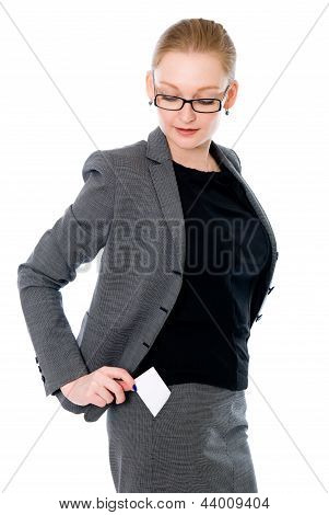 Business Woman With A Credit Card In Your Pocket