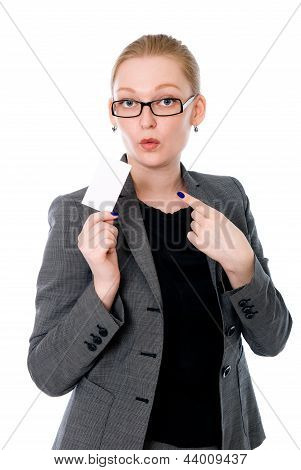 Business Woman Showing A Credit Card