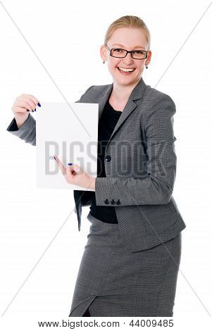 Portrait Of Cheerful Young Business Woman Holding A White Blank Banner.