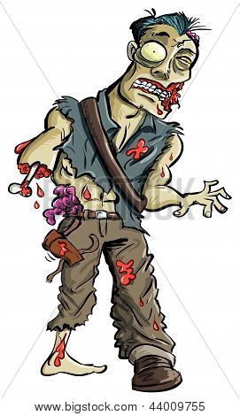 Cartoon illustration of green zombie