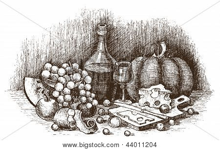 Still life with fruit cheese and wine drawing by hand