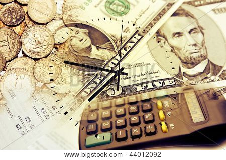 Clock face, calculator and currency. Time is money concept