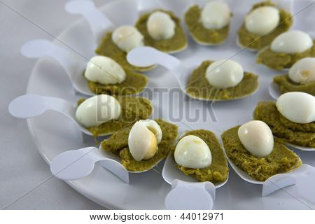 Creamed Spinach With Quail Eggs, Detail
