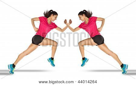 Sport Woman Starting Running. Mirror Effect.