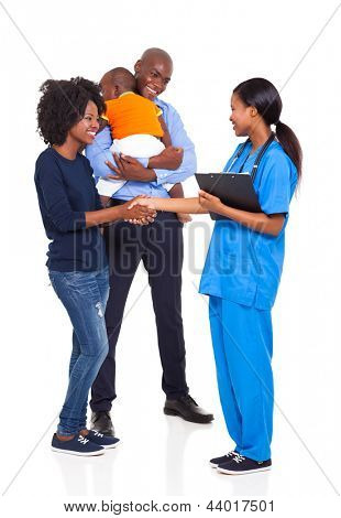cute african american family with an intern nurse isolated on white