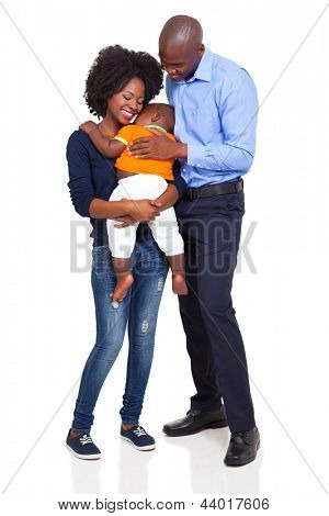 happy young african family full length portrait isolated on white background