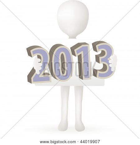 EPS Vector 10 - small 3d man hands holding 2013
