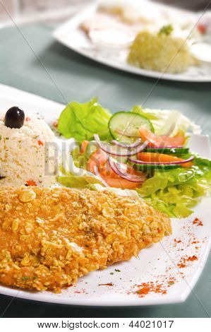 Schnitzel With Rice