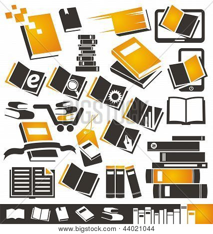 Books icons and symbols set