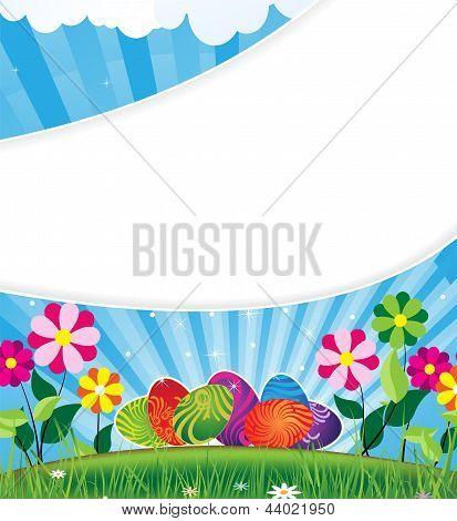 Easter Eggs On A Flowering Meadow