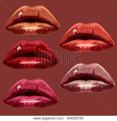 Set red the girl of lips. A vector illustration