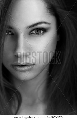 Young attractive woman with big eyes